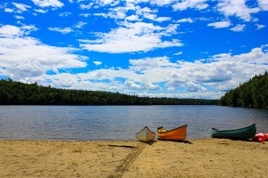 camping and canoeing