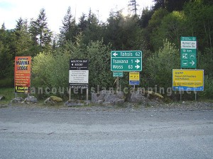 direction signs to cougar creek and muchalat lake in nootka sound