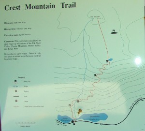 interpretive sign at crest mountain trail head