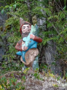 Fishing Gnome at Atluck Lake from vancouver island camping