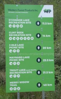 kathleen lake and alice lake loop mileage sign from vancover island camping