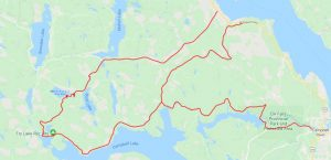 map of the route to merrill lake campgrounds on vancouver island