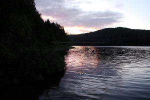 sunset at mohun lake on vancouver island