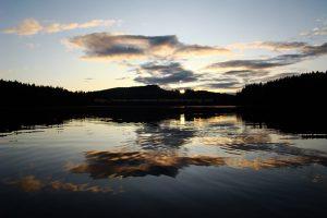 sunrise at mohun lake on vancouver island